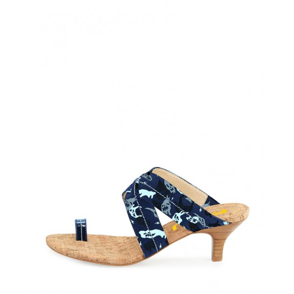 Navy Summer Sandals Kitten Heels for Holiday image 2