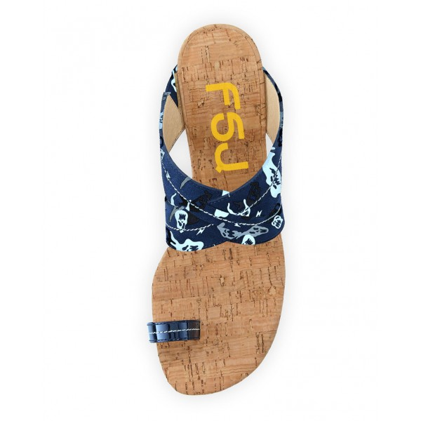 Navy Summer Sandals Kitten Heels for Holiday image 3