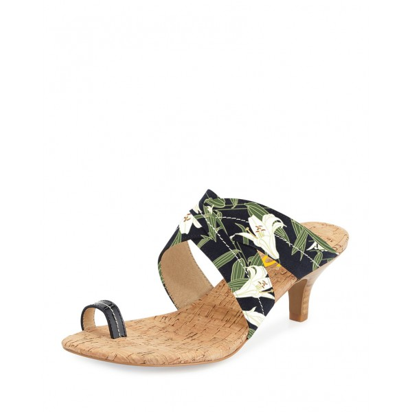 Women's Green Floral Heels Summer Sandals Mule Kitten Heels  image 1