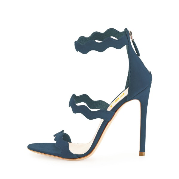 Navy Waves Pattern Stiletto Heels Open Toe Ankle Strap Sandals image 2