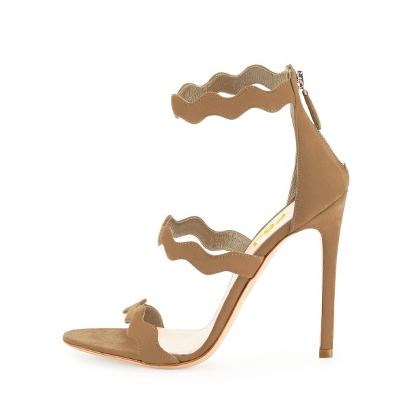 Khaki Suede Waves Pattern Tri Strap Open Toe Stiletto Heels Sandals image 2