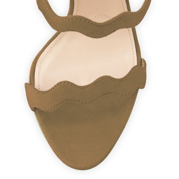 Khaki Suede Waves Pattern Tri Strap Open Toe Stiletto Heels Sandals image 3