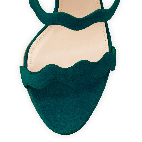 Women's Green Waves Pattern Pencil Heel Sandals image 3