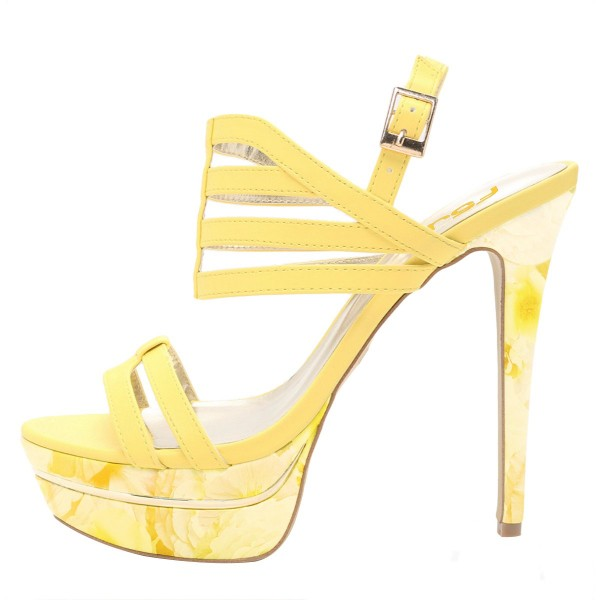 Yellow Floral Printed Platform Sandals Open Toe Strappy Heel for Women image 2