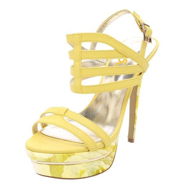 Yellow Floral Printed Platform Sandals Open Toe Strappy Heel for Women image 1