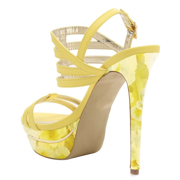 Yellow Floral Printed Platform Sandals Open Toe Strappy Heel for Women image 3