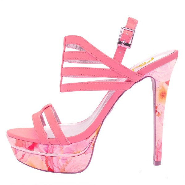 Hot Pink Platform Sandals Floral Slingback High Heels image 2