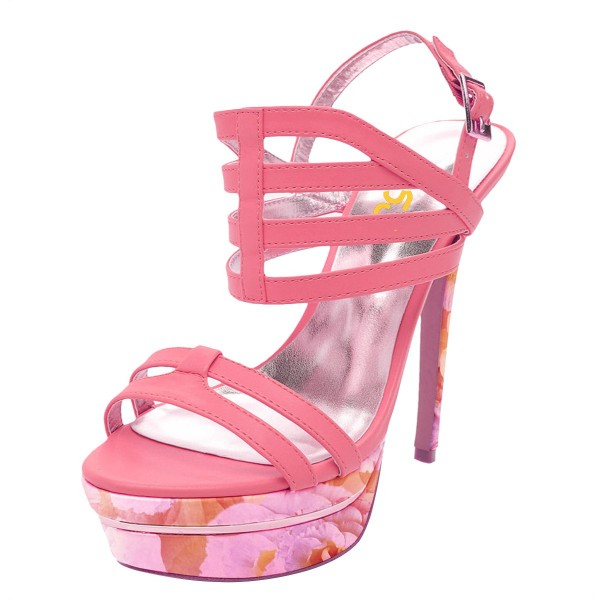Hot Pink Platform Sandals Floral Slingback High Heels image 1