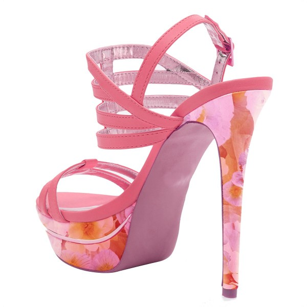 Hot Pink Platform Sandals Floral Slingback High Heels image 3