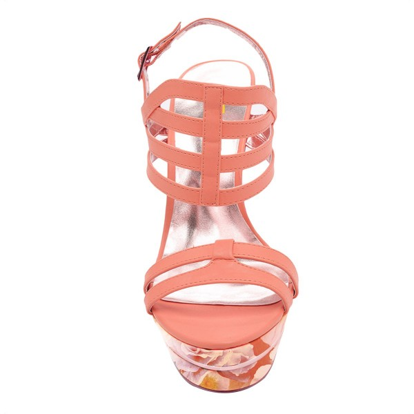 Light Pink Platform Sandals Open Toe Slingback Stiletto Heel Shoes image 2