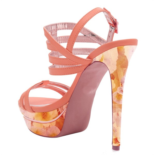 Light Pink Platform Sandals Open Toe Slingback Stiletto Heel Shoes image 3
