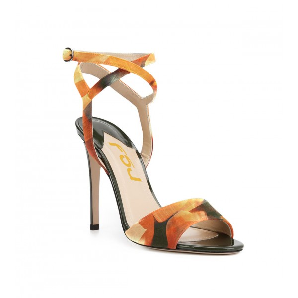 Women's Yellow Crossed Open Toe Ankle Straps Sandals image 2