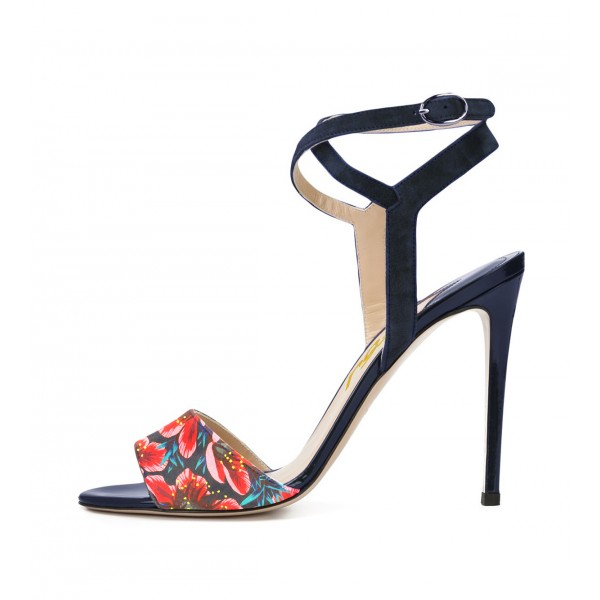 Floral Heels Ankle Strap Open Toe Stiletto Heels Sandals image 1