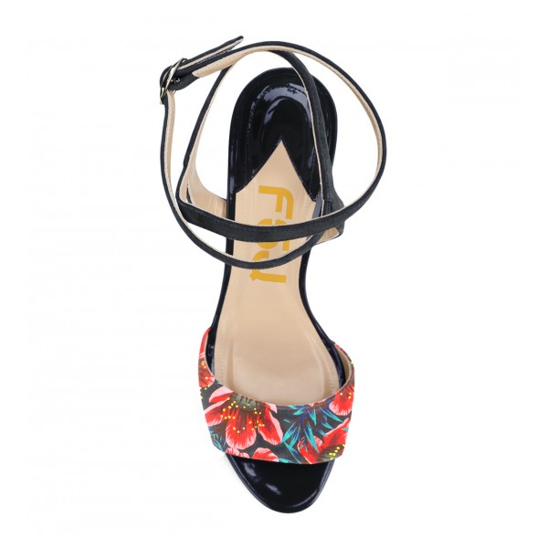 Floral Heels Ankle Strap Open Toe Stiletto Heels Sandals image 2