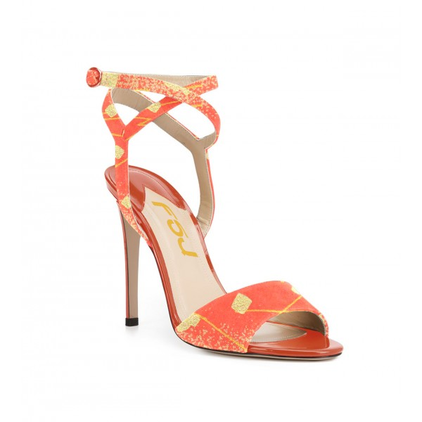 Orange Stiletto Heels Ankle Strap Open Toe Sandals for Female image 2