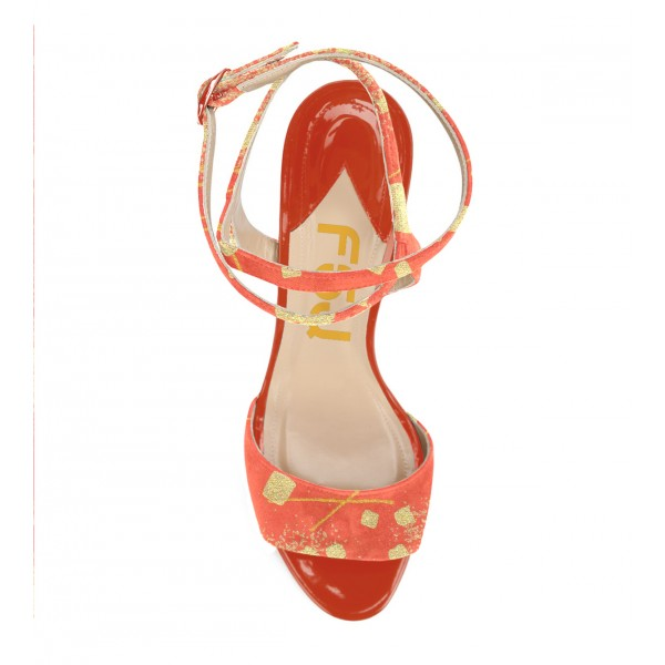 Orange Stiletto Heels Ankle Strap Open Toe Sandals for Female image 3