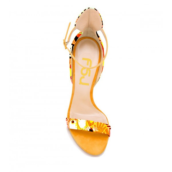 Yellow Floral Heels Ankle Strap Sandals Open Toe Stiletto Heel Sandals image 3