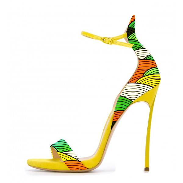 Women's Yellow Stiletto Heel  Open Toe  Ankle Strap Sandals image 2