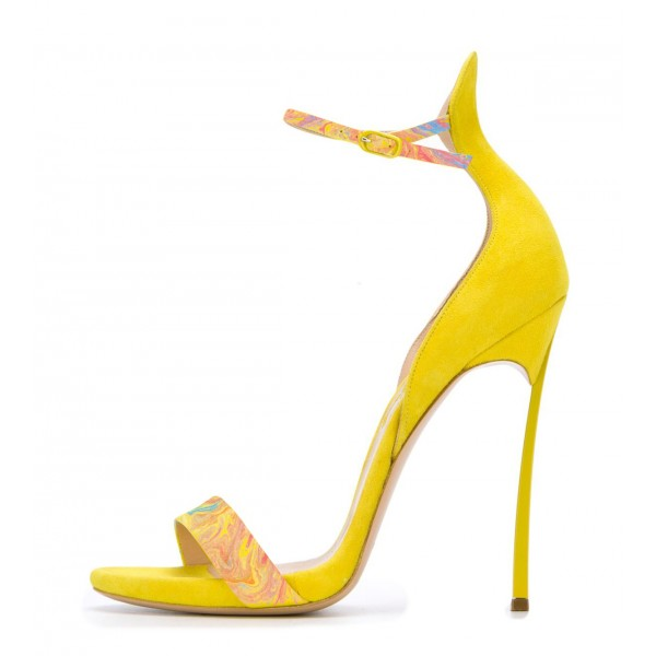 Women's Yellow Stiletto Heels Dress Shoes Open Toe Ankle Strap Sandals image 2