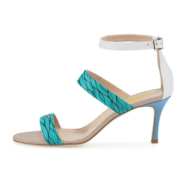 Turquoise Stiletto Heels Open Toe Ankle Strap Sandals image 2
