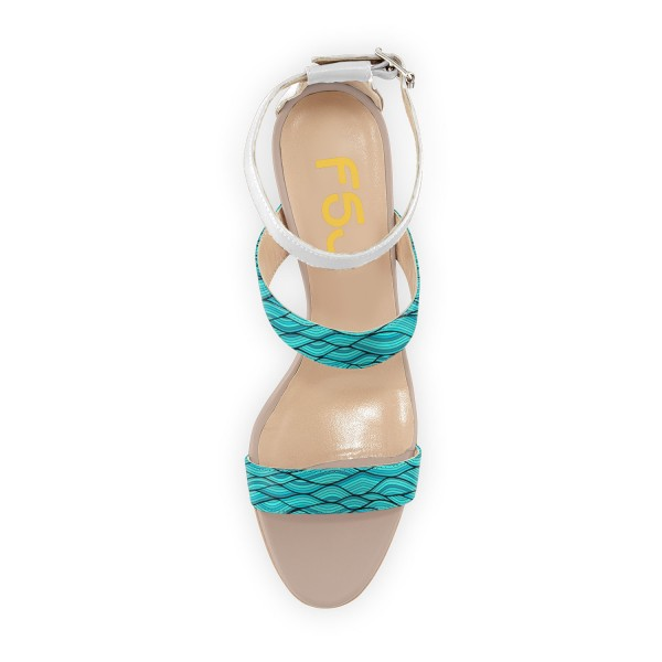 Turquoise Stiletto Heels Open Toe Ankle Strap Sandals image 3