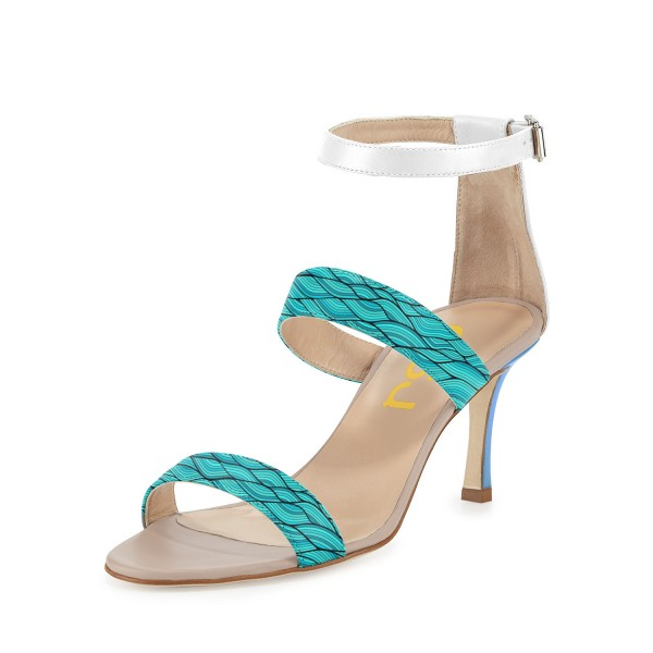 Turquoise Stiletto Heels Open Toe Ankle Strap Sandals image 1