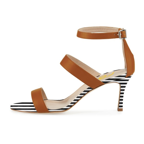 Tan Heels Stripes Stiletto Heel Office Sandals by FSJ image 2