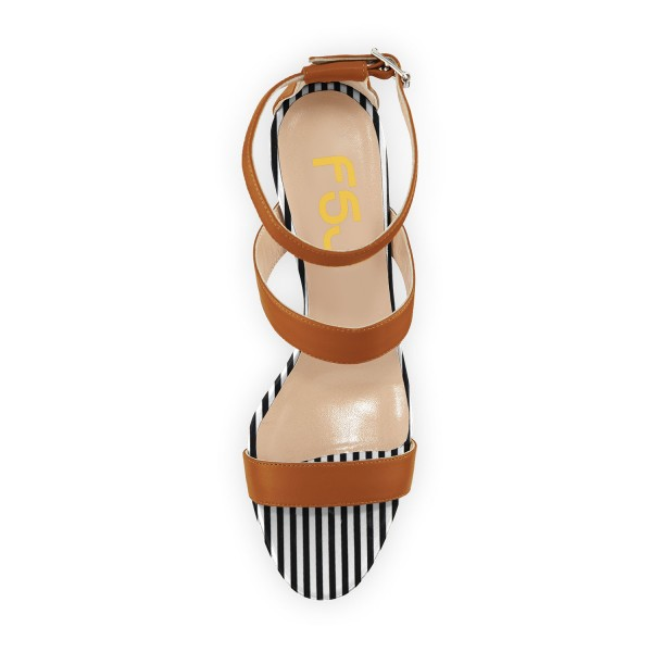 Tan Heels Stripes Stiletto Heel Office Sandals by FSJ image 3