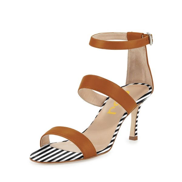 Tan Heels Stripes Stiletto Heel Office Sandals by FSJ image 1