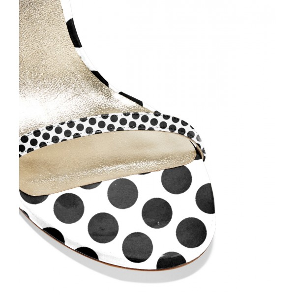 Black and White Stiletto Heels Polka Dots Cute Ankle Strap Sandals image 3