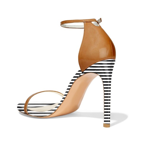 Tan Heels Open Toe Ankle Strap Stiletto Heel Sandals for Office Lady image 2