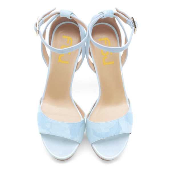 Light Blue Ankle Strap Sandals Open Toe Platform High Heel Shoes image 2