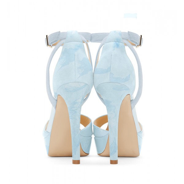 Light Blue Ankle Strap Sandals Open Toe Platform High Heel Shoes image 3