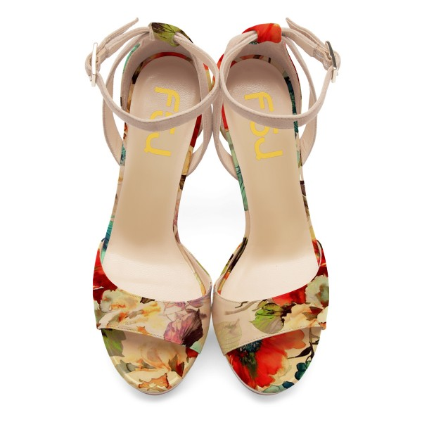 Women's Nude Open Toe Flowers Printed Ankle Strap Sandals image 2