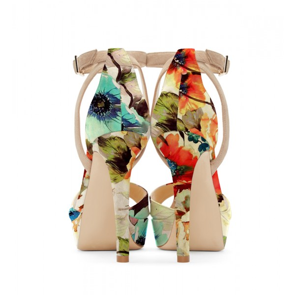 Women's Nude Open Toe Flowers Printed Ankle Strap Sandals image 3
