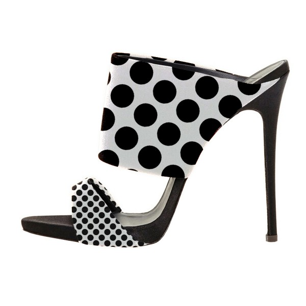 Women's Black and White Stiletto Heels Polka Dots Slippers Mule Sandals Formal Shoes image 1