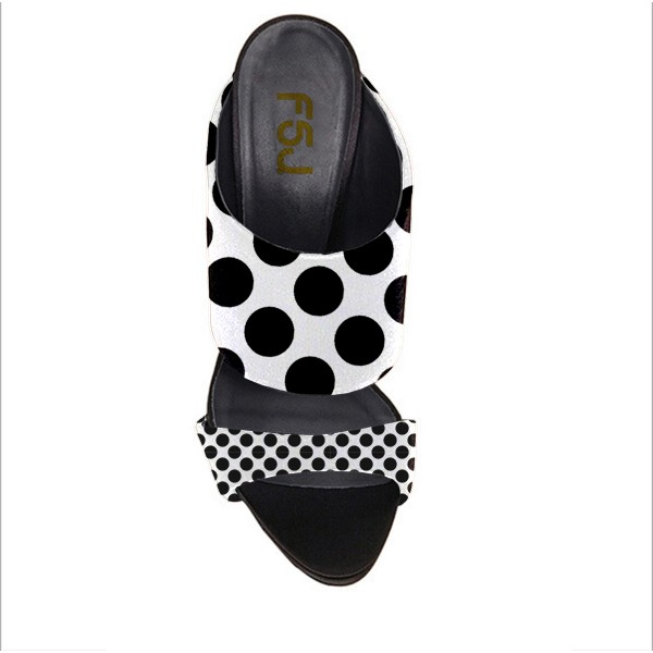 Women's Black and White Stiletto Heels Polka Dots Slippers Mule Sandals Formal Shoes image 2