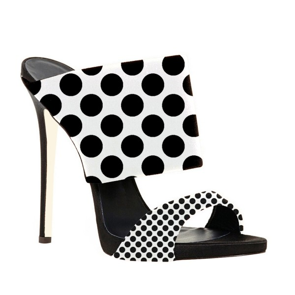 Women's Black and White Stiletto Heels Mule Polka Dots Slippers image 3