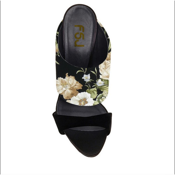 Floral Stiletto Heels Suede Formal Mule Sandals image 2