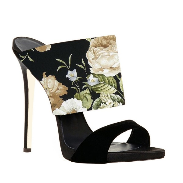 Floral Stiletto Heels Suede Formal Mule Sandals image 3