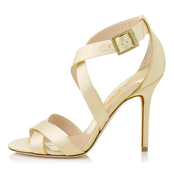 Beige Office Sandals Stiletto Heels Open Toe Cross-over Strap Sandals image 2