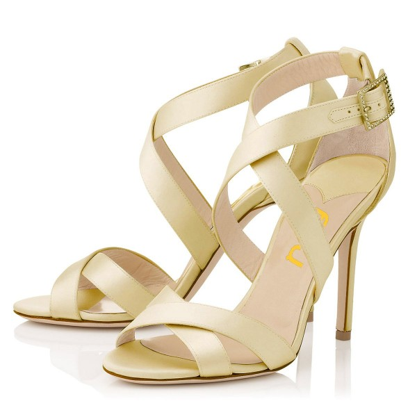 Beige Office Sandals Stiletto Heels Open Toe Cross-over Strap Sandals image 1