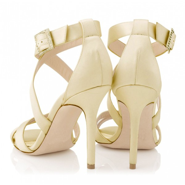 Beige Office Sandals Stiletto Heels Open Toe Cross-over Strap Sandals image 4
