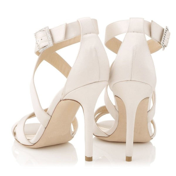 White Cross-over Straps Sandals Stiletto High Heels for Work  image 2