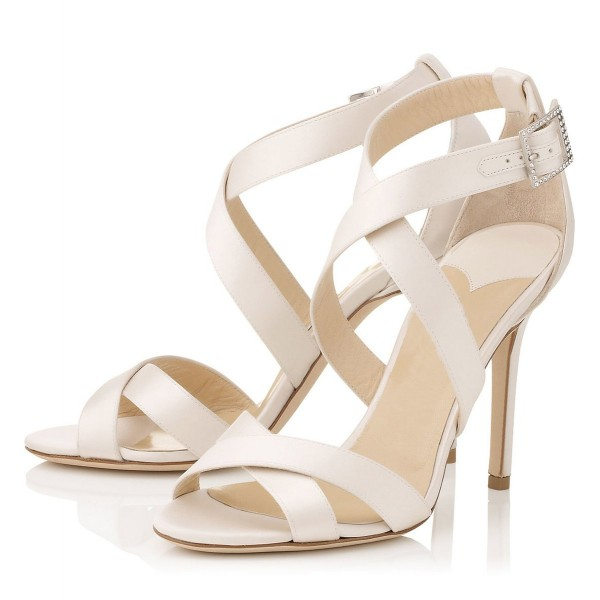 White Cross-over Straps Sandals Stiletto High Heels for Work  image 1