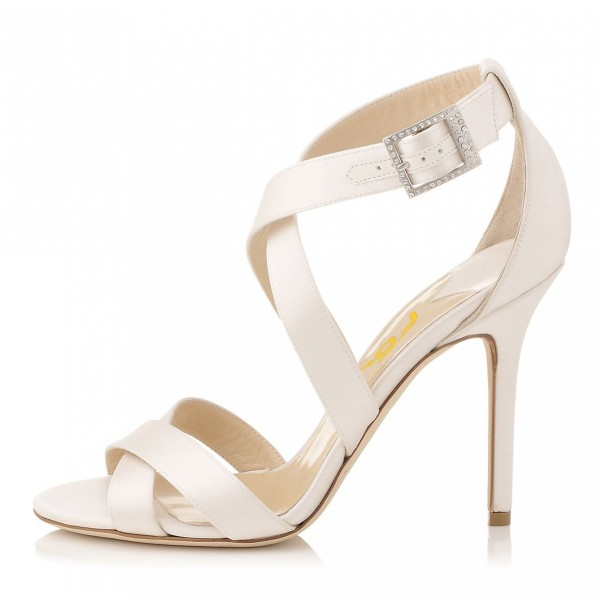 White Cross-over Straps Sandals Stiletto High Heels for Work  image 4