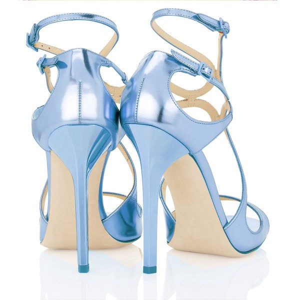 Women's Blue Strappy Stiletto Heels Dress Shoes Open Toe Ankle Strap Sandals For Prom image 2