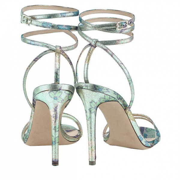 Floral Strappy Sandals Open Toe Stiletto Heels by FSJ image 2