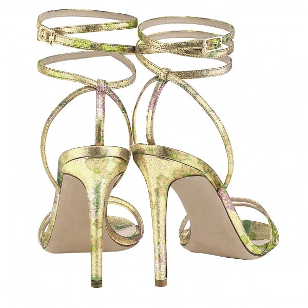 Lime Floral Ankle Strap Sandals Open Toe Stiletto Heels  image 3