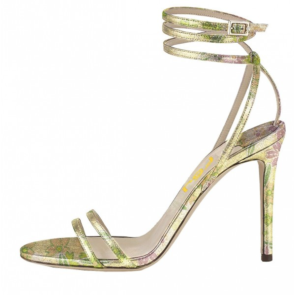 Lime Floral Ankle Strap Sandals Open Toe Stiletto Heels  image 4